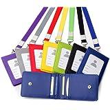 Porte-cartes avec tour de cou en cuir pour carte bancaire, pièce d'identité, porte-monnaie, badge professionnel Red