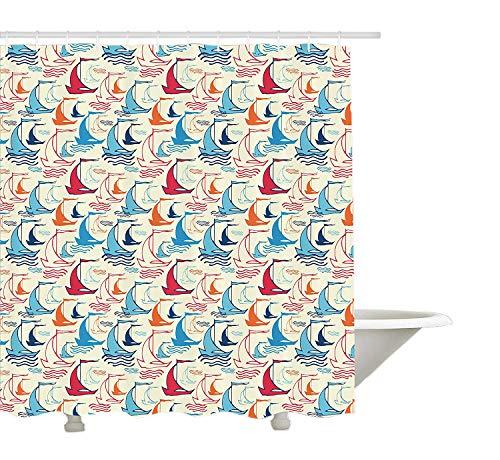 Yeuss Segelboot Duschvorhang, Wellenlinien mit Doodle-Stil Schiff Silhouetten Abstract Retro Wind Powered Travel, Stoff Badezimmer Dekor Set mit Haken, Multicolor