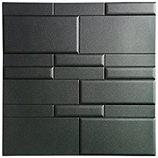 Art3d 3D Leather Tiles Decoartive 3D Wall Panels, Black Brick 24