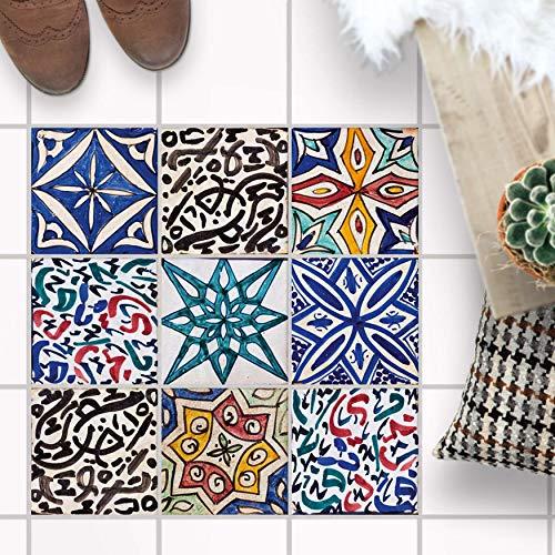 Klebefliesen - [ Fliesen für Boden ] - Folie Sticker Aufkleber für Fuß-Boden-Fliesen - Bad oder Küche I Fliesenfolie als Alternative zu Fliesenfarbe I 30x30 cm - Design Spanische Fliesen