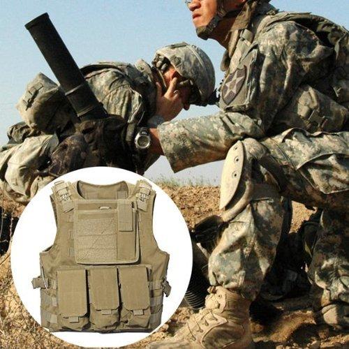 TOOGOO(R) Marron Chaleco de bola de pintura del combate del ejercito militar tactico de nylon