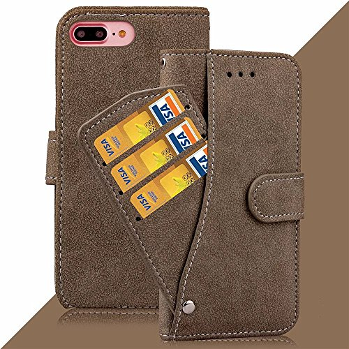 iPhone Case Cover Housse en Cuir Mat Surface PU, Fermeture Magnétique Flip Stand Case Avec Courroie Slot Cash Card pour IPhone 7 Plus ( Color : Rose , Size : IPhone 7 Plus ) Brown