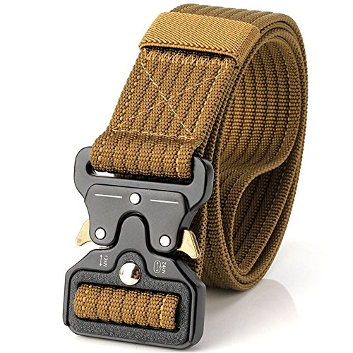 Beautygoods Tactical Waist Belt Patrol Men Nylon Canvas Breath Metal Buckle Multiple Function Outdoor Heavy Equipment 49 Inches