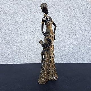 Dekofigur Afrikanische Frau mit Kind Skulptur Zulu Massai Himba Afrika Dekoration