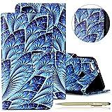 Herbests Handytasche für Huawei P10 Lite Leder Handy Schutzhülle Leder Wallet Tasche Brieftasche Leder Klapphülle Lederhülle, Huawei P10 Lite Retro Vintage Bunt Muster Malerei Lanyard Strap