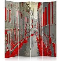 Paravent einseitig Feeby Frames Leinwand Wandschirme ORANGE dekorative Trennwand Vintage GELB Ggedruckten auf/Canvas Raumteiler 110x150 cm Alter VW 3 teilig