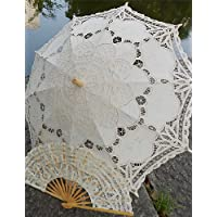 FUNAN Vintage Handmade Battenburg Embroidery Wedding Umbrella Princess Parasols One Set (Bridal Parasol + Hand Fan) , white