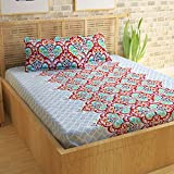 Story@Home 100% Cotton Bed Sheet for Double Bed with 2 Pillow Covers Set, Candy Queen Size Bedsheet Series, 120 TC, Beautiful Paisley Pattern, Red