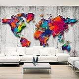 murando - Fototapete 350x256 cm - Vlies Tapete - Moderne Wanddeko - Design Tapete - Wandtapete - Wand Dekoration - Weltkarte Beton k-A-0033-a-b