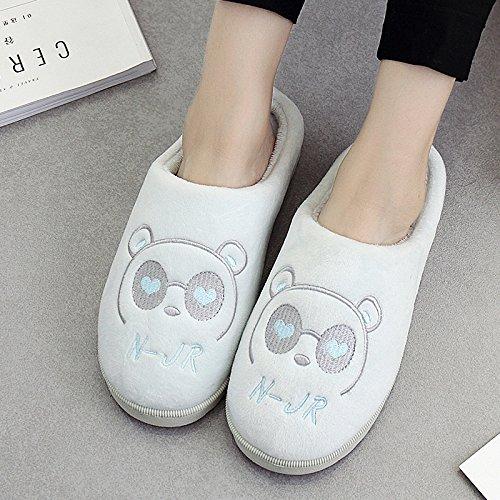 DogHaccd pantofole,Pantofole di cotone femmina maschio coppie cadono spesso soggiorno invernale home in inverno con pantofole di peluche carino Blu chiaro3