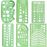 ccmart Set von 6Kunststoff Geometrische Schablonen Messung Vorlagen für Büro und Schule, Building schalungen, Zeichnungen Ausarbeitung Vorlagen, klar grün Farbe