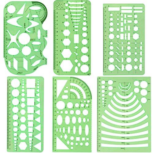 XDLink - Geometrie-Zeichengarnitur, Kunststoff, Kreis, Sechskant, Quadrat, Dreieck, Oval, für Geografie, Mathematik, schematische Skizzen, grün