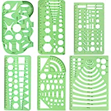 Juego de 6 plantillas geométricas CCMART de plástico para oficina y escuela, diseño de dibujos