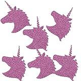 TE-DecoArt 12 Textil Patch Aufbügler Aufbügelflicken Applikation Einhorn lila Glitter zum Selber Flicken Stylen Dekorieren ca. 6x4.5 cm DIY