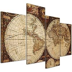 """Bilderdepot24 Cuadros en Lienzo """"Mapa del mundo del vintage"""""""" - 120x80 cm 4 piezas - Enmarcado listo Bastidor imagen. directamente desde el fabricante"""