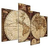Kunstdruck Weltkarte Vintage - Bild auf Leinwand - 120x80 cm 4 teilig - Leinwandbilder - Urban & Graphic - Erde - historische Darstellung