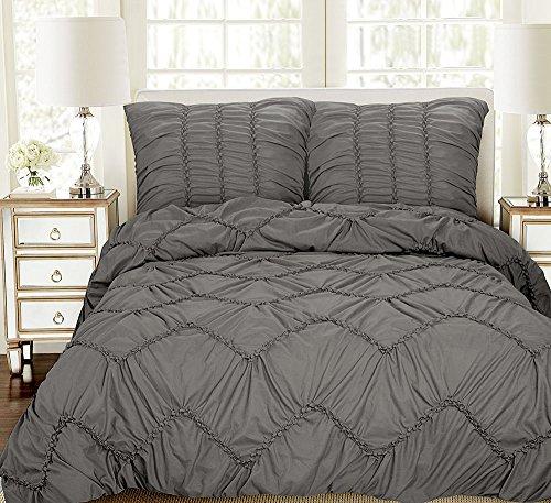 XXL 3D Biesen Design Modern Bettüberwurf Tagesdecke 240x260cm Überwurfdecke  Farbe: Grau, 3 Teilig
