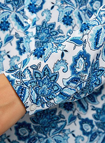 oodji Collection Donna Camicetta Stampata in Viscosa Blu (1075E)