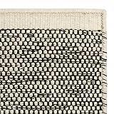 "URBANARA Teppich ""Kolong"" - 100% reine Woll-Baumwoll-Mischung, Eierschale/Schwarz, handgewebt – 140 x 200 cm, Wollteppich, Wohnteppich, Schlafzimmer-Teppich, Wohnzimmer-Teppich, Kinderzimmer-Teppich"
