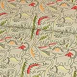 Baumwollstoff Dinos beige braun Kinderstoffe Dinosaurier Öko-Tex Standard 100 - Preis gilt für 0,5 Meter