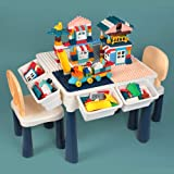 AMOSTING Ensemble Table et 2 Chaise Enfant, 7-in-1 Table de Jeux Enfant 158 Pièces Briques de Construction Table Activité Enf