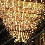 Elegear Lichtervorhang 144 LEDs warmweiß Lichterkette 8 Modi 4x0.6 Meter LED Weihnachtsbeleuchtung strombetrieb Deko für Innen Außen Neujahr Weihnachten Geburtstag Feiertag Party Hotel Garten Hochzeit
