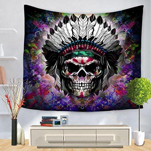 LLP LM Wohnzimmer Hippie Wandteppiche,Tapisserie Terror Totenkopf Drucken Wandbehang Hintergrund Dekorativer Stoff, 150*200cm, b