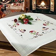 Juego de bordado DIVERSIÓN DE INVIERNO / Juego completo de mantel previamente dibujado para el bordado en punto de cruz / Kit de bordado / Bordado para el Adviento y la Navidad