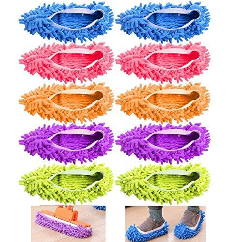 EigPluy 10 pz(5 Paia) Duster Mop Pantofole Scarpe Copertura, Multi Funzione Ciniglia Fibra Lavabile Piano Pulizia Scarpe per Bagno Ufficio Cucina Casa Lucidatura Pulizia Unisex Copri Scarpe