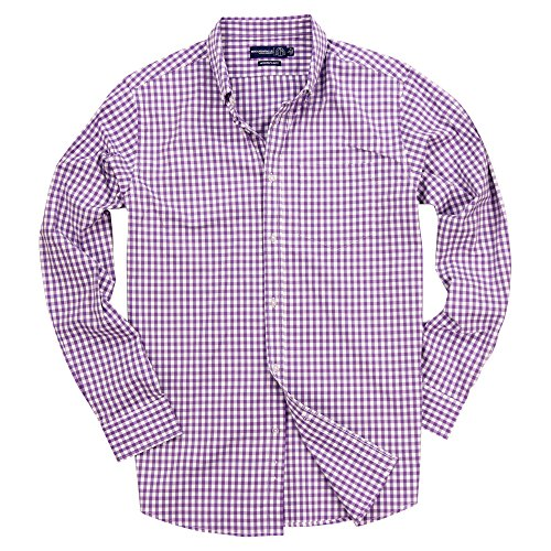 Benjamin & Walls Herren Hemd, langärmelig, Gingham-Muster, geknöpft, Stretch, kariert - Violett - Medium (Pink Plaid-kleid Shirt Für Männer)