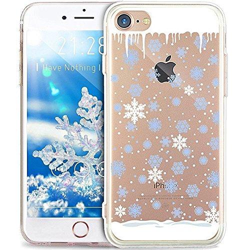 e iPhone 5S/5/SE Hülle,Durchsichtig mit Xmas Christmas Snowflake Weißen Weihnachten Schneeflocke Hirsch Muster Klar TPU Silikon Handyhülle Schutzhülle,BlauweißSchneeflocke ()