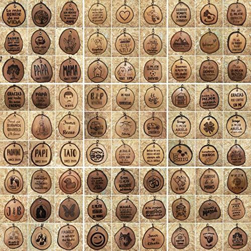 LLAVEROS PERSONALIZADOS en rodaja de MADERA RECUPERADA de OLIVO grabados con láser 4 cm aprox.
