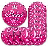 11er Set personalisierte JGA-Anstecker #1: 1 Braut-Button 76mm + 10 Buttons in 56mm mit Namen und Datum individualisiert für Junggesellinnenabschied