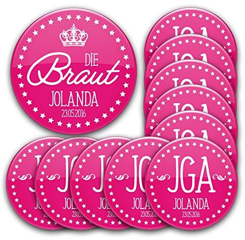 Händler Karte Kostüm - JGA Button Set #1: 1 x Braut 76mm 10 Buttons Ø 5,6cm mit Name und Datum personalisiert für Junggesellinnenabschied