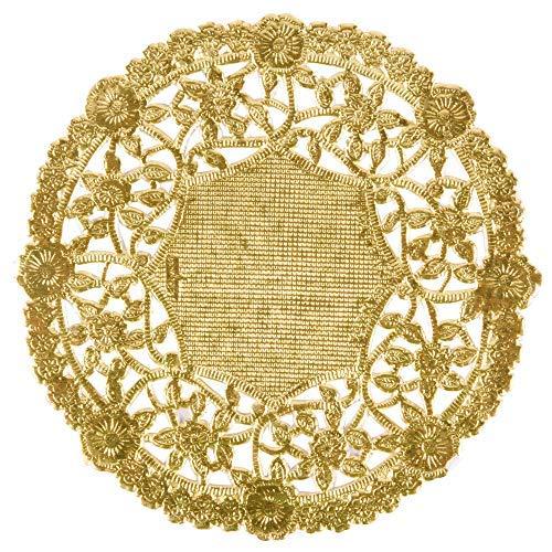 The Baker Celebrations runden Papier Spitze Tabelle Deckchen Folie Dekorative Geschirr Einweg Papiere Tischsets, zum Servieren von kleinen Leckereien oder wälzen Silber 50 Gold