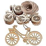 DEOMOR 20 Stück Holz Anhänger deko Scheiben Fahrrad mit Jute Schnur zum Basteln für DIY Handwerk Hochzeit Weihnachten Raumdeko