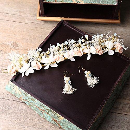 KPHY Braut Unsterbliche Stirnband Blumen Girlanden Ohrringe Crystal Kamm Haar - Schmuck