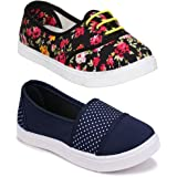 WORLD WEAR FOOTWEAR Women Multicolour Latest Collection Sneakers Shoes- Pack of 2 (Combo-(2)-11031-611)