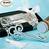 Set di 20chiavi Argento apribottiglie in scatola regalo-abridores apribottiglie Regali Matrimonio