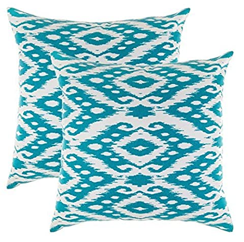 TreeWool, (Pack of 2) Cotton Canvas Ogee Ikat Diamond Accent Decorative Cushion Covers (40 x 40 cm; Turquoise & White)