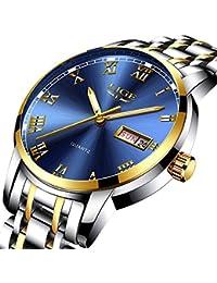 Herren Uhren Mode einfachen Stil Sport Quarz-Uhr Edelstahl Armbanduhr Marke Luxus Business Wasserdicht Armbanduhr Blau