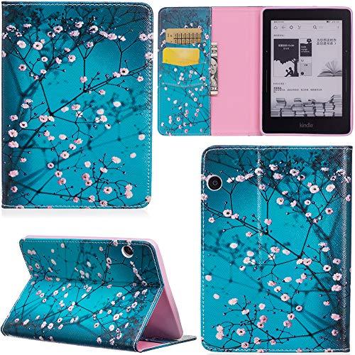 ge Hülle PU Leder Tasche Schutzhülle Cover Case Wallet Brieftasche Stand für Kindle Voyage - Blume Blau ()