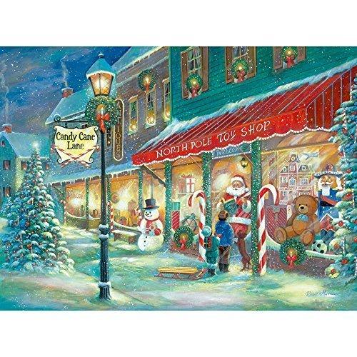 Bits and Pieces 1000 Stück Glow In The Dark Puzzle Candy Cane Lane, Weihnachten Candy, Urlaub von Künstler Ruane Manning 1000 Pc Jigsaw (Große Candy Cane)