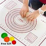 Silikon Backmatte Teigmatte Backfolie Hitzbeständige Arbeitsmatte für Fondant Nonstick Maße Fondant Teig Gebäck Backmatte 60 * 40cm, für Hausfrau, Kochen Enthusiasten (Rot + Deckel)