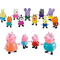Kirat Peppa Pig Full Family Pretend Play Action Cartoon Set for Kids and Children(14 Piece, Multicolor)