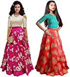 JAKM Girls Pink & Orange Banglori Semi Stitched Combo Pack lehenga Choli Salwar Suit Gown (Kids Wear_Free Size_8-12 Year age)