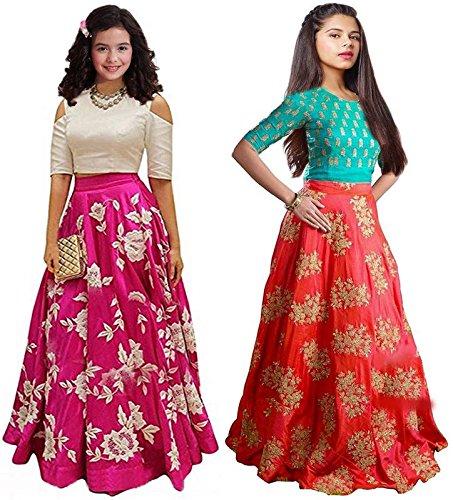 Market Magic World Girl's Pink & Orange Banglori Semi Stitched Combo Pack...