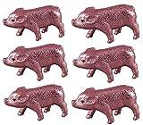 Deko Glücksschweinchen Schwein Glücksbringer Set 6-tlg. Glimmer 9,5 cm L rosa Sylvester