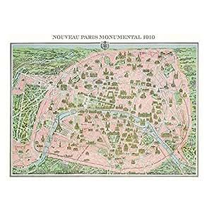 Piatnik - 5428 - Puzzle - Carte de Paris 1910 - 1000 Pièces