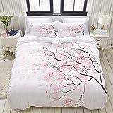 ALLMILL Parure de lit Adulte,Housse de Couette,Branche Artistique de Sakura avec Fleurs de Cerisier, Printemps Japonais Tendr